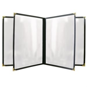 8 VIEW BOOK STYLE BLACK LEATHERETTE 8.5X11