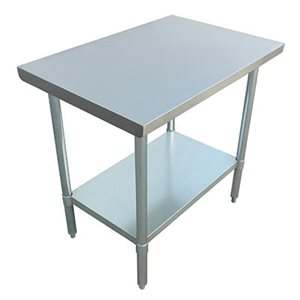 "S / S WORK TABLE 30""x48"" W / GALVANIZED UNDERSHELF AND LEGS"