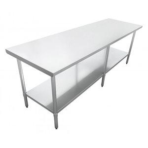 "S / S WORK TABLE 30""x84"" W / GALVANIZED UNDERSHELF AND LEGS"