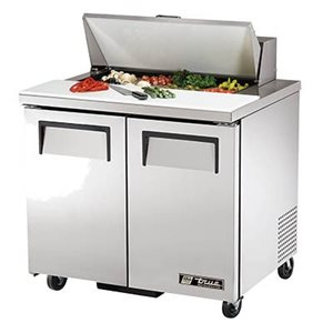 "TRUE SALAD UNIT 36"" 110V S / S DOORS, 8 PA"
