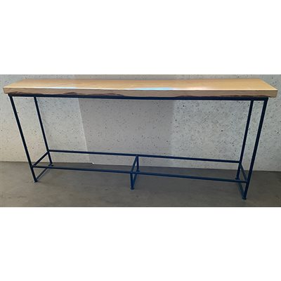 WOODEN TABLE TOP 8FT LONG WITH BLACK METAL BASE