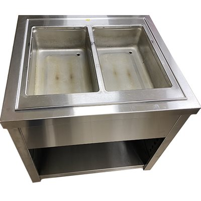 "VOLLRATH TWO BASIN WARMER WITH CABINET 32""W X 30""D"
